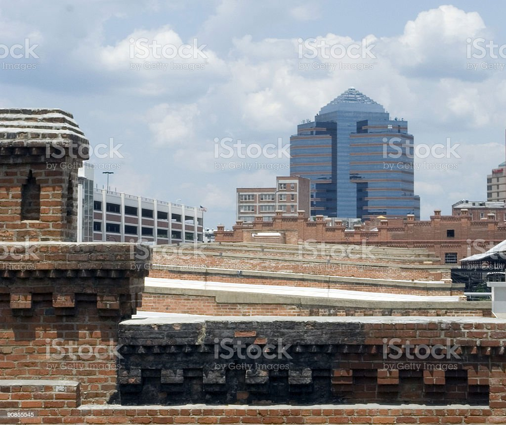 Corporate Office Juxtaposed With Brick Buildings stock photo