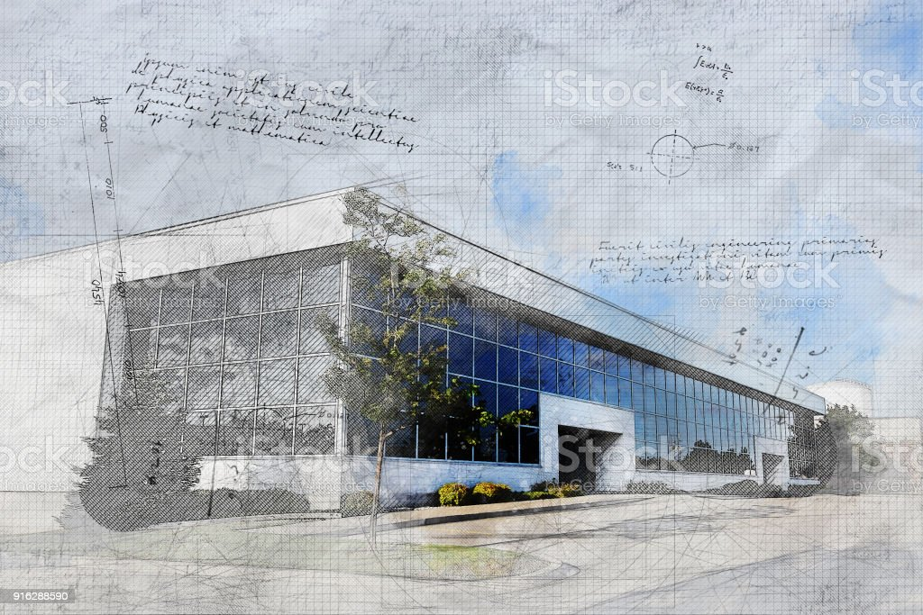 Corporate Offices with Grunge Effect stock photo