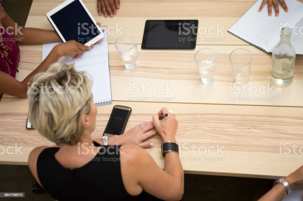 Corporate or business meeting, AGM, board room discussion stock photo