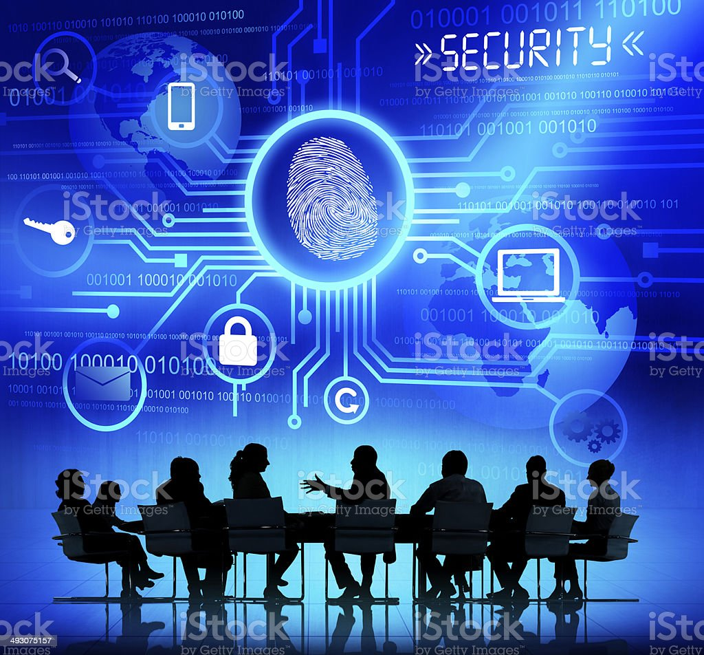 Corporate people discuss global network security stock photo