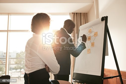 497451790 istock photo Corporate people discussing new business prospectus 497451948