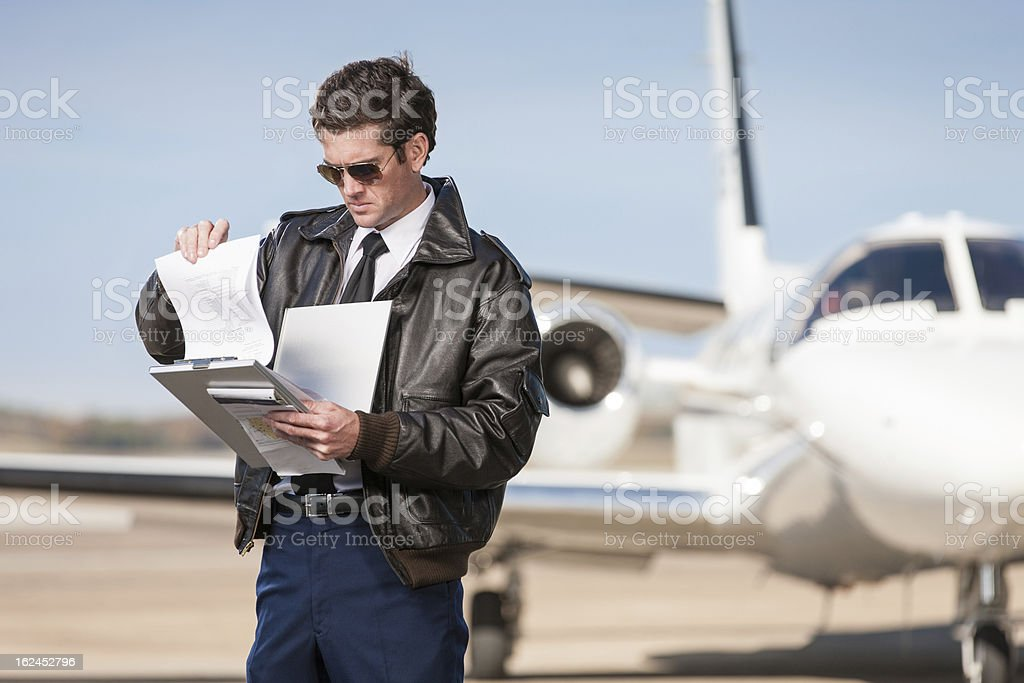 Pilota controllo Flight Plan aziendale - foto stock