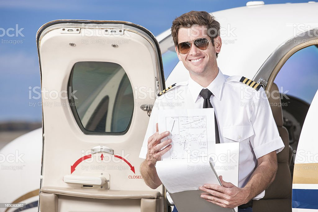 Corporate Pilot with Log Book stock photo