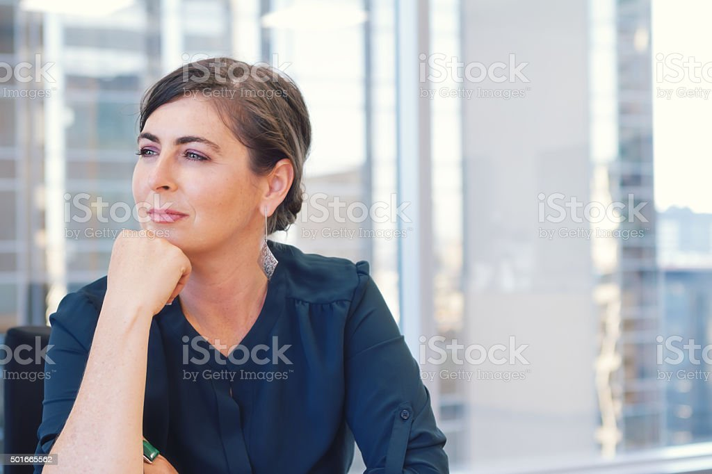 Corporate professional business woman in city office with buildi - Royalty-free 2015 Stockfoto