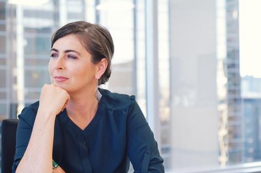 Corporate Professional Business Woman In City Office With Buildi Stockfoto en meer beelden van 2015