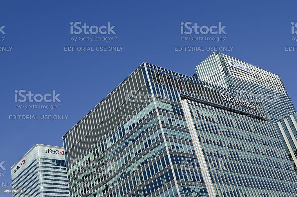 Corporate skyscrapers, Canary Wharf, London stock photo
