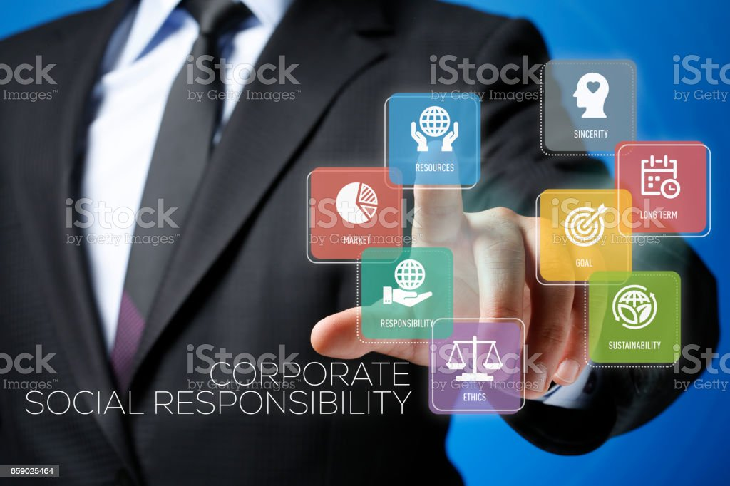Corporate Social Responsibility Concept on Interface Touchscreen stock photo
