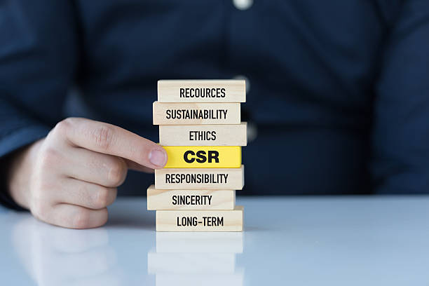 corporate social responsibility concept with related keywords on wooden blocks - responsible business stock photos and pictures