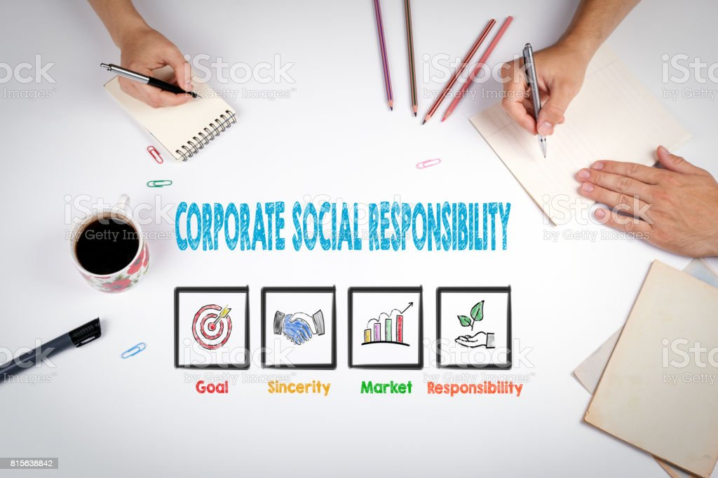 Corporate Social Responsibility. The meeting at the white office stock photo