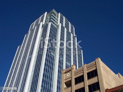 Corporate buildings against clear blue sky.