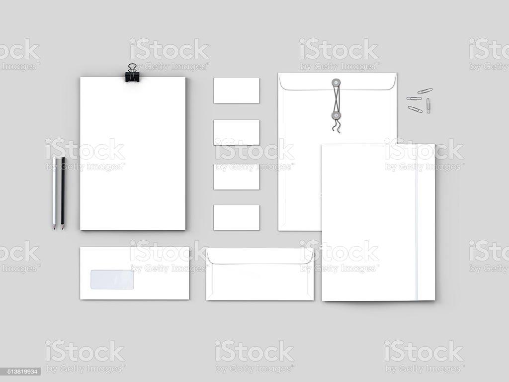 Corporate Stationery, Branding Mock-up isolated on light grey background. stock photo