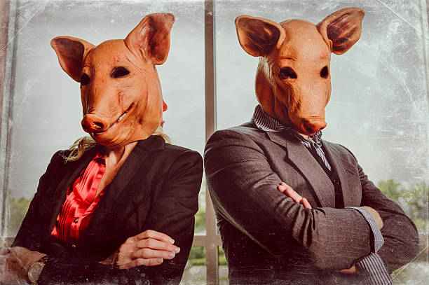 corporate swine - hoarding stock photos and pictures
