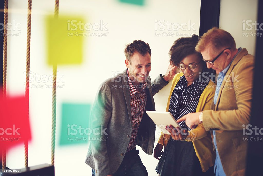 Corporate Team Casual Break Discussion Ideas Concept stock photo