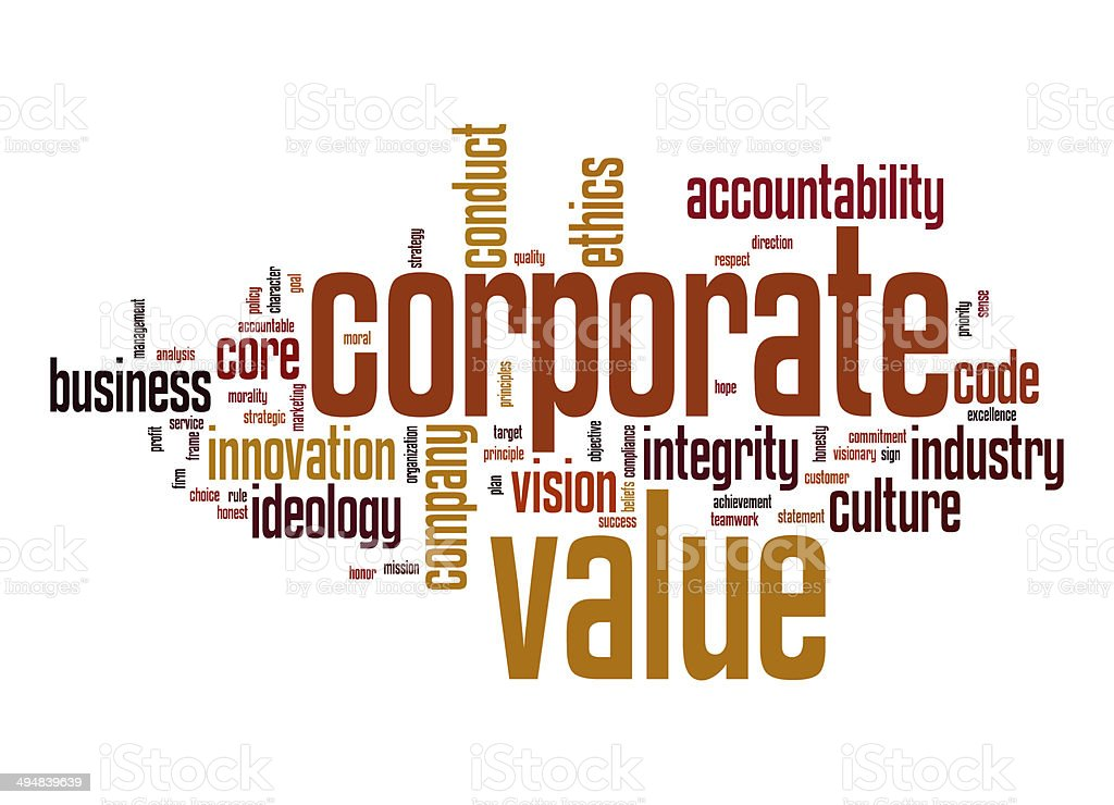 Corporate value word cloud stock photo