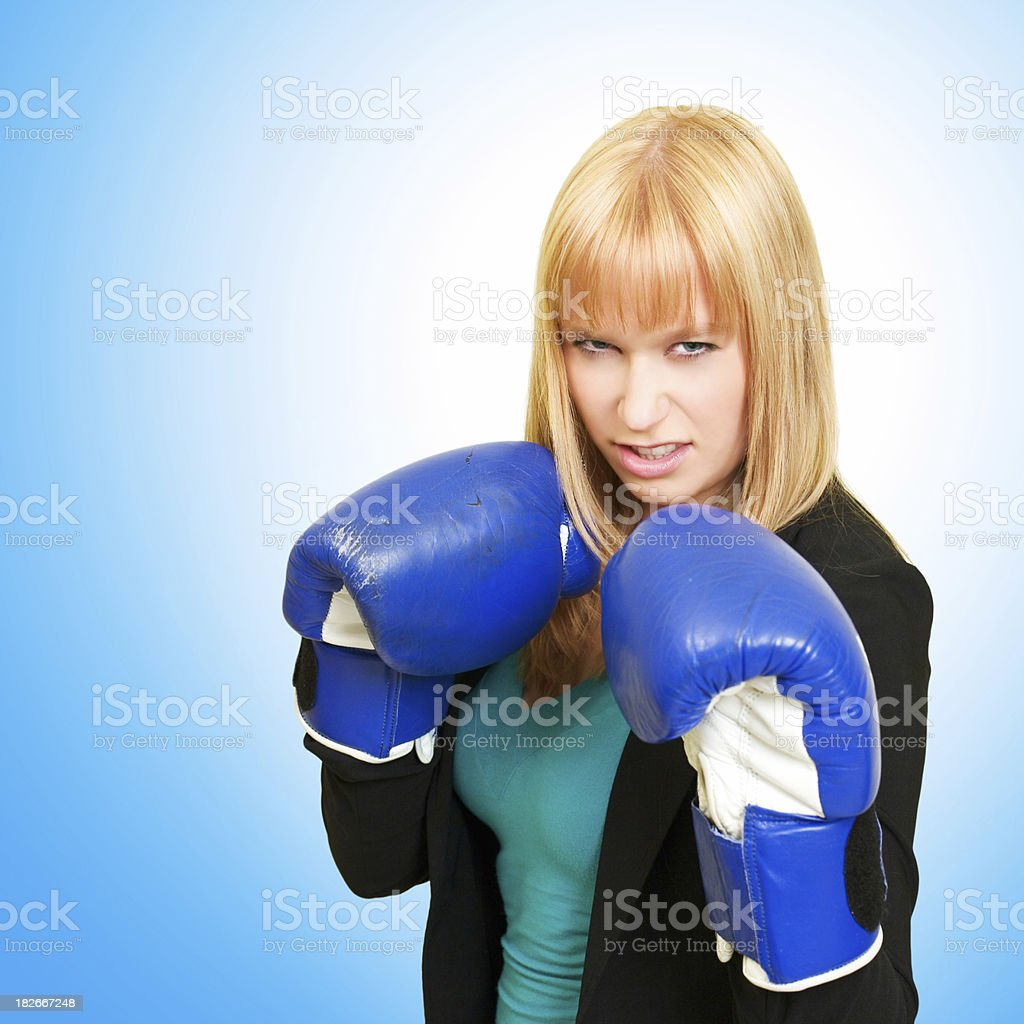 Corporate Warrior on a Blue Background royalty-free stock photo