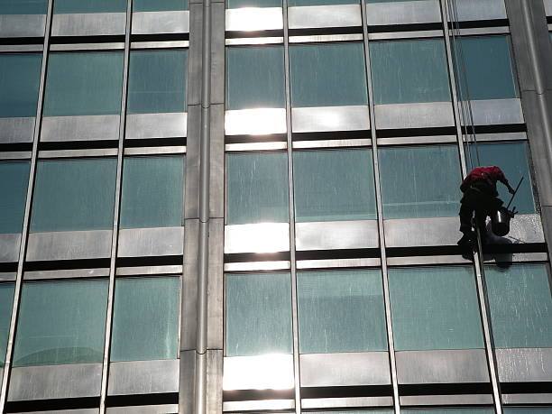 Corporate window cleaning stock photo