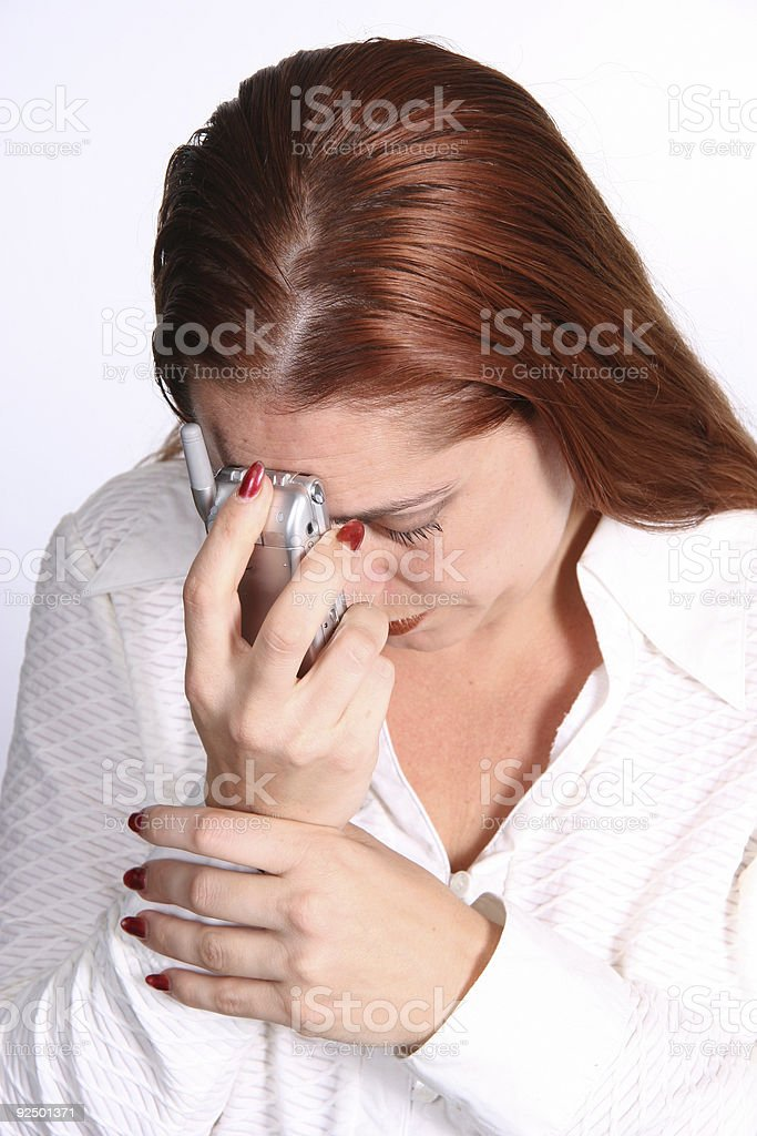 Corporate Woman Frustrated on Cell Phone royalty-free stock photo
