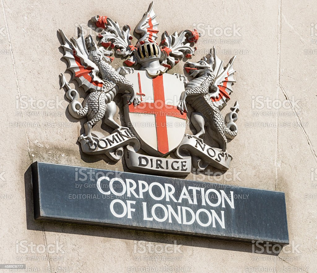 Corporation Of London Insignia and Sign stock photo