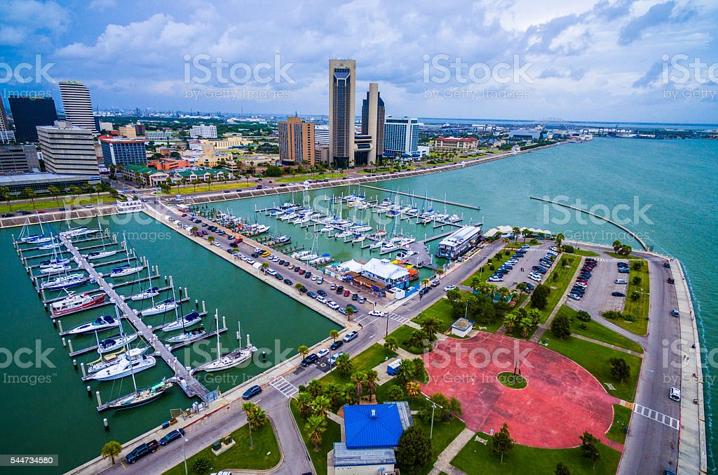 Corpus Christi Texas Aerial Over Marina stock photo