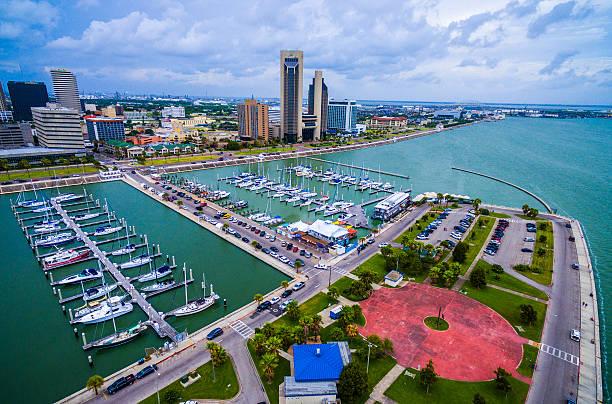 Corpus Christi Texas Aerial Over Marina stock photo