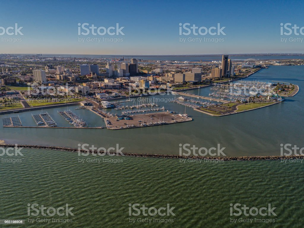 Corpus Christi, Texas Skyline over the Marina royalty-free stock photo