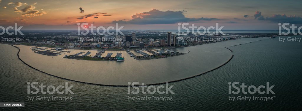 Corpus Christi, Texas Sunset Skyline Panoramic royalty-free stock photo