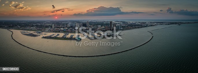 Corpus Christi Texas Sunset Skyline Panoramic Stock Photo & More Pictures of Aerial View