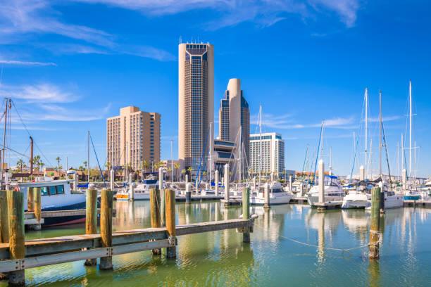 Corpus Christi, Texas, USA skyline on the bay stock photo