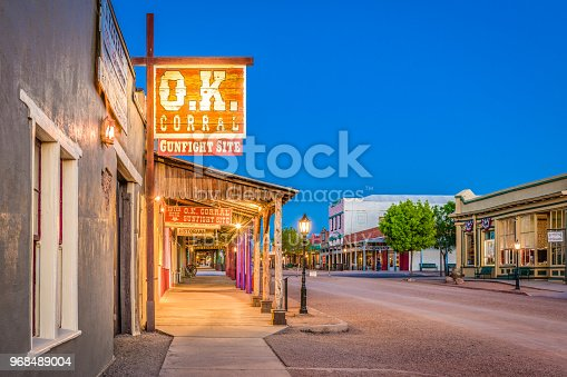 Tombstone, Arizona, April 17, 2018: The O.K. Corral Gunfight Site at twilight. The site is known for the most famous shootout in the history of the American Wild West.