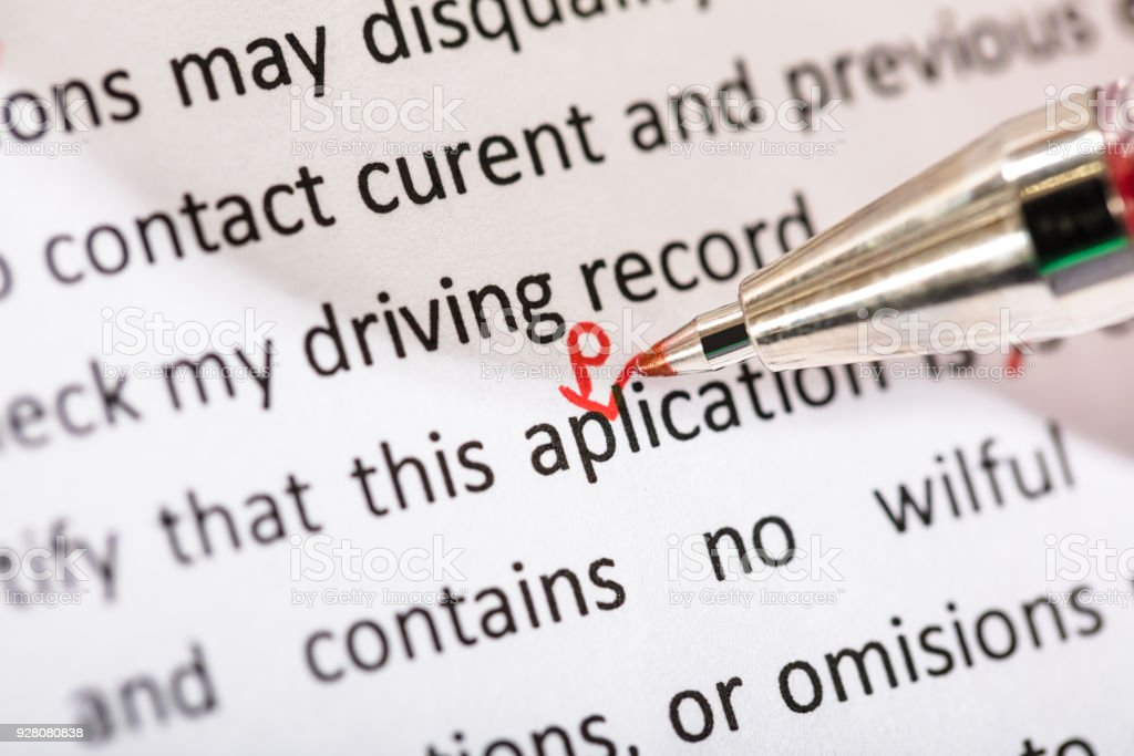 Correcting Application Word stock photo