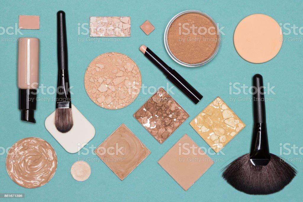 Corrective makeup flat lay set stock photo