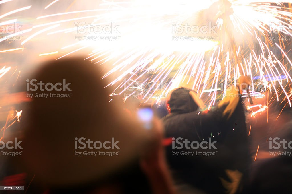 Catalonian traditional holiday - summer festival of fire, demons,...