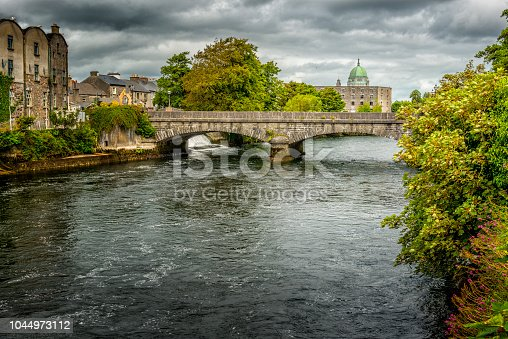 Corrib river with Galway Cathedral in background