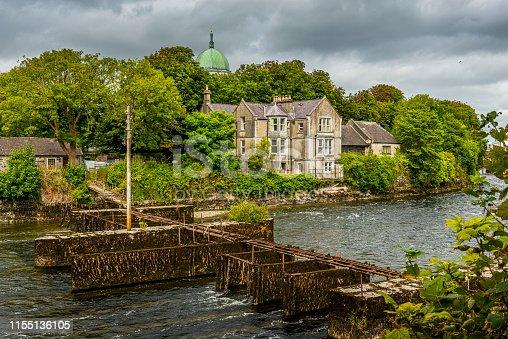 Corrib River with old fishing bridge in Galway