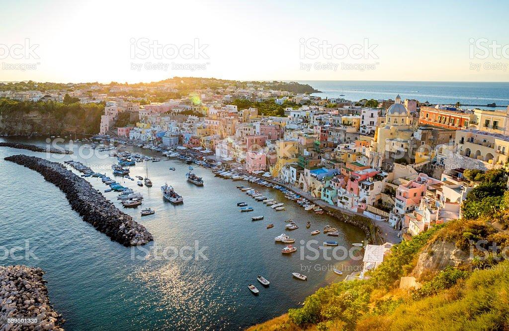 Corricella fishermen's village on Procida island, Italy stock photo
