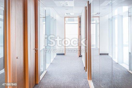 istock Corridor and Modern Glass Office 471867845
