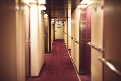 Corridor at cruise shipping , travel concept