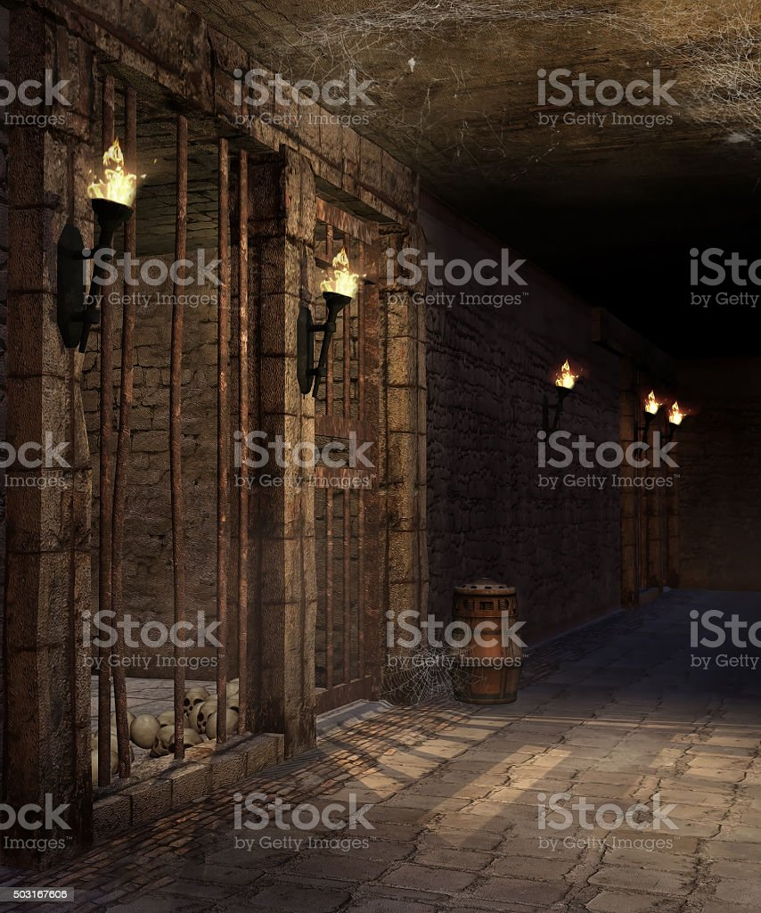 Corridor in a castle dungeon stock photo