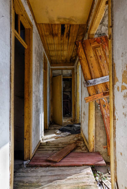 corridor in an abandoned house stock photo