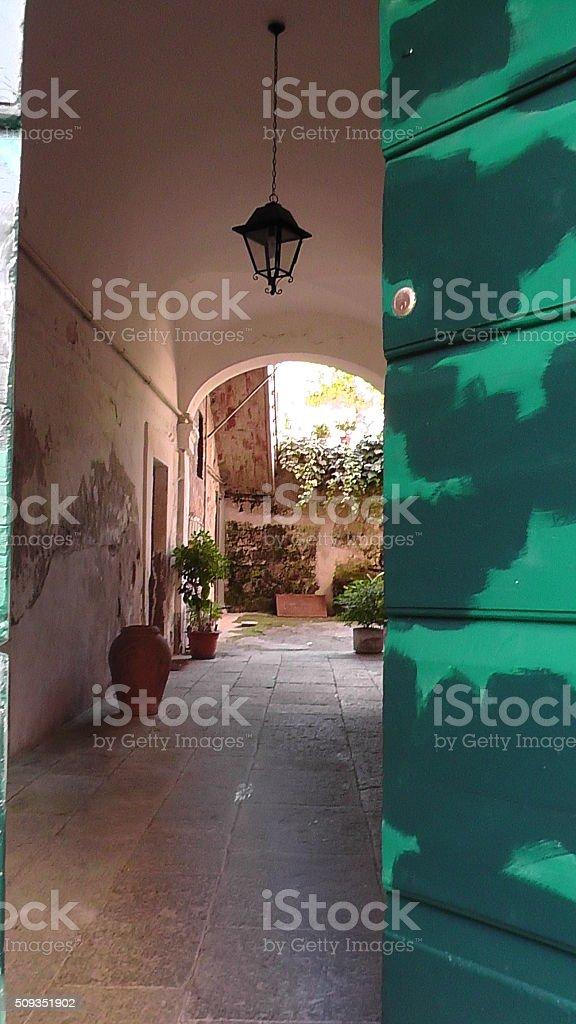 Corridor in Orvieto, Italy stock photo