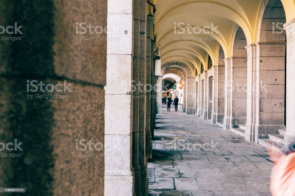 corridor in Spanish architectur stock photo