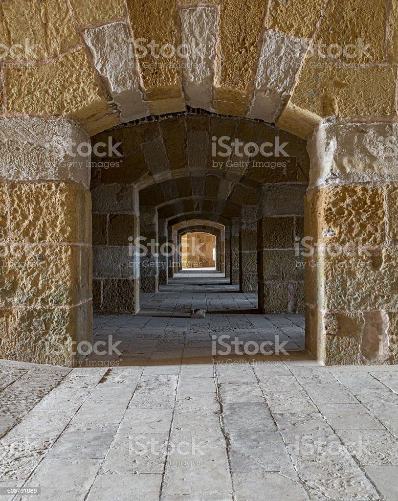 Corridor in The Citadel of Qaitbay, Alexandria, Egypt stock photo