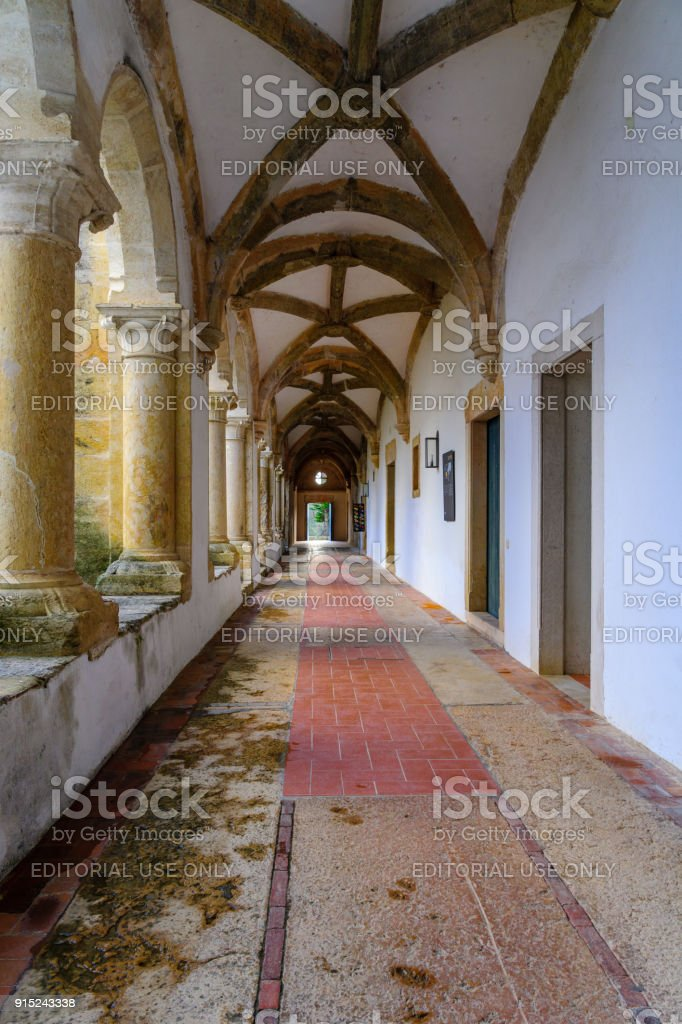 Corridor in the Convent of Christ, in Tomar stock photo