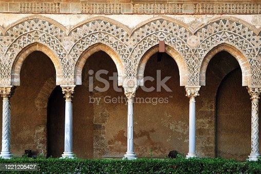 Corridor in the garden of the cloister Monreale near Palermo (Sicily, Italy)