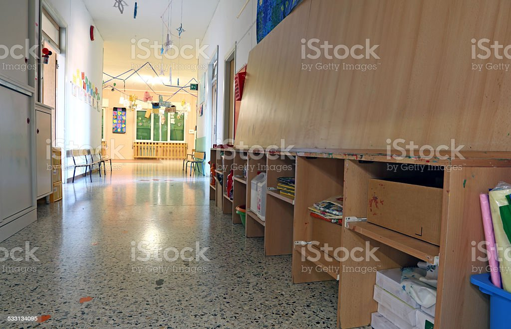corridor of a nursery with the decorations stock photo