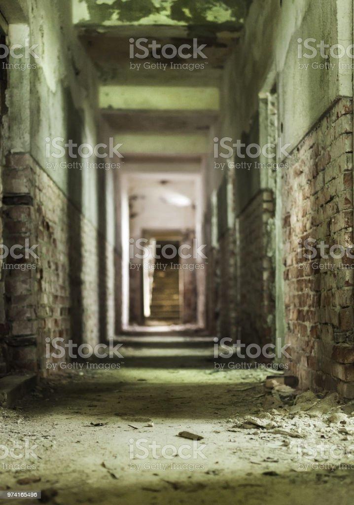 Corridor of an obandoned bathing resort in Balvanyos, Transylvania, Romania stock photo