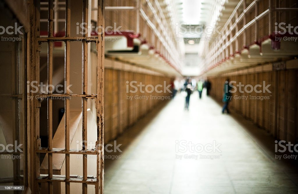 Corridor of Prison with Cells  Alcatraz Island Stock Photo