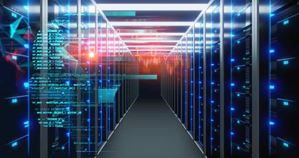 ノードベースプログラミングデータ設計要素を持つサーバールーム3Dイラストのコリドー。 ストックフォト