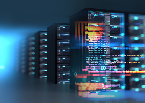 server room 3d illustration with node base programming data  design element concept of big data  storage and  cloud computing technology.