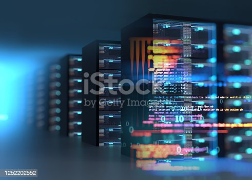 server room 3d illustration with node base programming data  design element concept of big data  storage and  cloud computing technology.